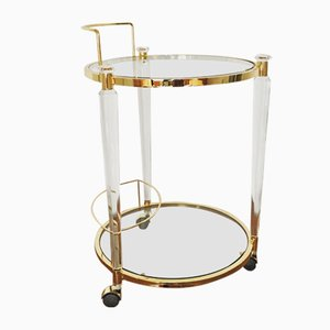 Hollywood Regency Brass and Acrylic Bar Cart, 1960s