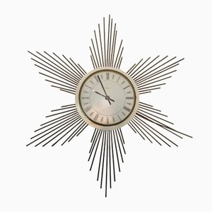 Metal Sunburst Wall Clock from Paico, 1960s