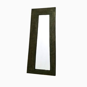Italian Black Embossed Metal & Wood Wall Mirror, 1950s