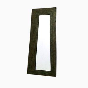 Specchio da parete nero in metallo e legno goffrato, Italia, anni '50