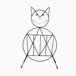 Revistero italiano en forma de gato de hierro y latón, años 50