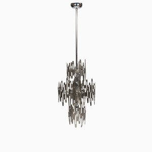 Italian Stainless Steel Chandelier, 1970s