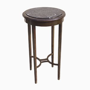 Round Art Deco Mahogany and Marble Coffee Table