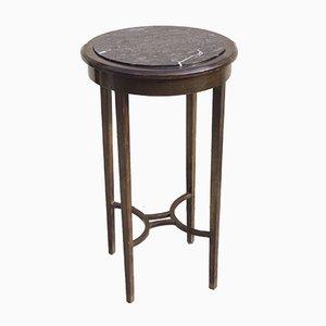 Table Basse Ronde Art Deco en Acajou et Marbre