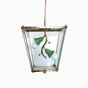 Italian Glass & Brass Lantern, 1940s