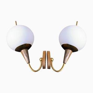 Art Deco Wandlampen aus Holz, 2er Set