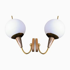 Art Deco Wooden Wall Lights, Set of 2