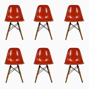 Mid-Century DSW Fiberglass Chairs by Charles & Ray Eames for Herman Miller, Set of 6