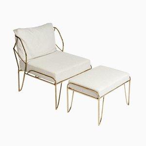 Bronze Lounge Chair & Ottoman, 1970s