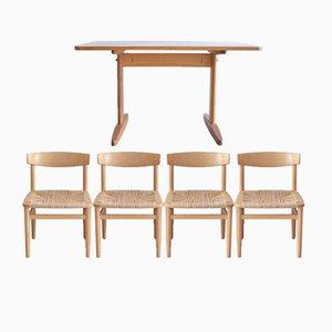 Mid-Century Shakertisch & Oresund Esszimmerstühle von Borge Mogensen für M.C. Madsen