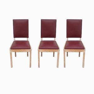Bürostühle aus Eichenholz & Leder von Charles Dudouyt, 1940er, 3er Set