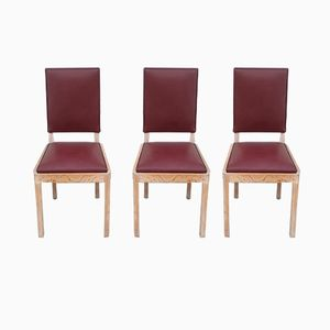 Office Chairs in Oak & Leather by Charles Dudouyt, 1940s, Set of 3