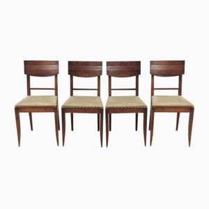 Art Deco Chairs in Walnut by Charles Dudouyt, 1930s, Set of 4