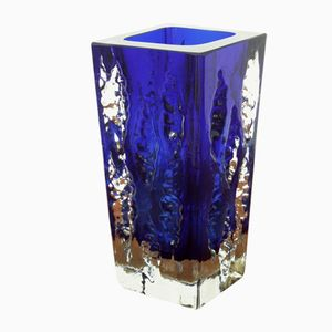 Austrian Blue & Clear Ice Glass Vase from Glashütte Kurt Wokan, 1970s
