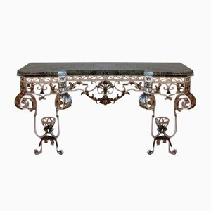 Vintage Wrought Iron & Marble Console Table, 1940s