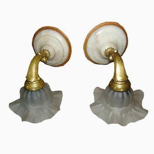 Applique vintage in ottone e alabastro, anni '50, set di 2