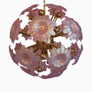Sputnik Chandelier with Murano Glass Pink Flowers, 1980s