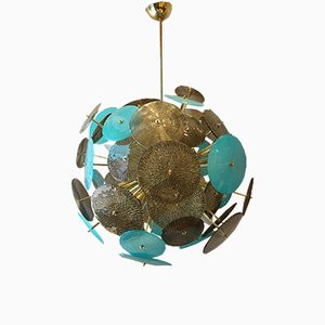 Lámpara de araña Sputnik de cristal de Murano, años 80
