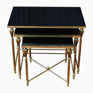 Tavolini ad incastro vintage in ottone, anni '60, set di 3