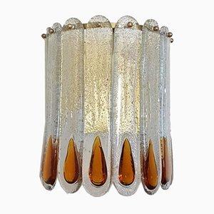 Aplique de pared vintage de cristal de hielo con detalles de vidrio en ámbar