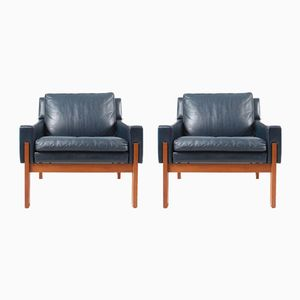 Lounge Chairs in Blue Leather, Set of 2, 1970s