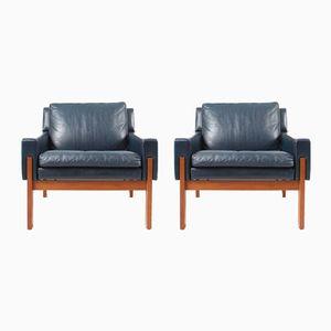 Sessel mit blauem Lederbezug, 2er Set, 1970er