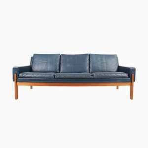 Blue Leather Sofa, 1960s