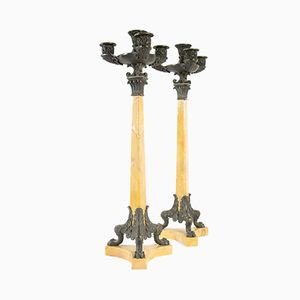 Antique Restoration Period Yellow Marble Candelabra, Set of 2
