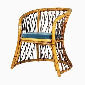 Stuhl aus Binse, Rattan & blauem Samt, 1960er