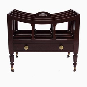 Antique Mahogany & Brass Magazine Rack