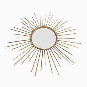Specchio vintage Sunburst in ottone, anni '60
