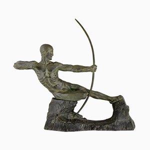Escultura Hércules de bronce Art Deco: Hombre con arco de Victor Demanet 1925