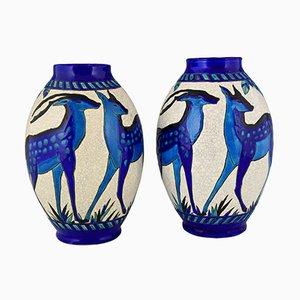 Vases en Céramique Bleue par Charles Catteau pour Keramis, 1925, Set de 2