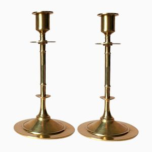 Vintage Brass Candle Holders from Grillby Metallfabrik, Set of 2