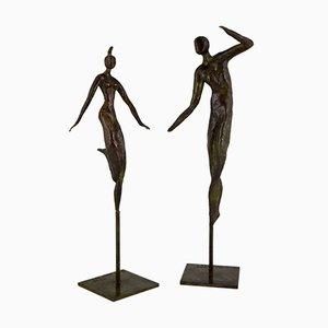 Sculture raffiguranti due ballerini in bronzo di Isabelle Calvetti per Paumelle Foundry, 2000