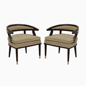 Art Deco Italian Wood and Brass Armchairs, 1930s, Set of 2