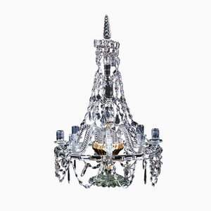 Antique Glass Candle Chandelier, 1890s