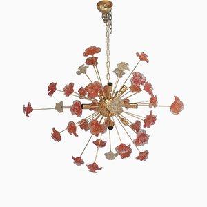 Lámpara de araña Sputnik con flores de cristal de Murano