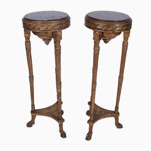 Hohe Tische mit vergoldetem Holzgestell, 1920er, 2er Set