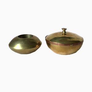 Vintage Brass Candle Holder and Box, Set of 2