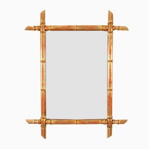 Vintage Spiegel mit Rahmen aus vergoldetem Bambus