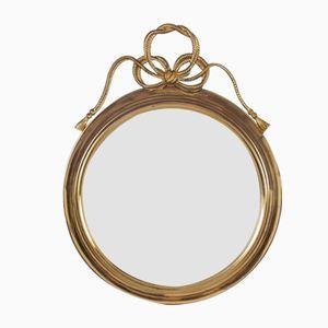 Runder Vintage Spiegel mit Rahmen aus Messing