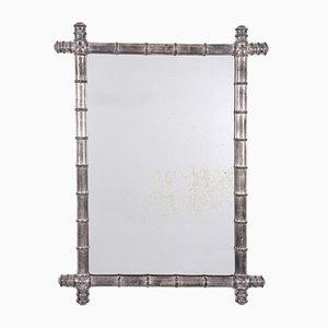 Vintage Spiegel mit Rahmen aus Bambus in Silber