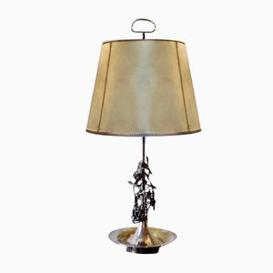 Vintage Silver Brass Table Lamp, 1960s