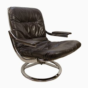 Leather Swiveling Armchair, 1960s