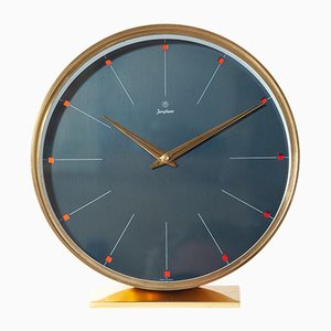 Dark Blue Brass Table Clock with Red Glass Indices from Junghans, 1960s