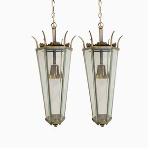 Brass & Glass Lanterns, 1950s, Set of 2