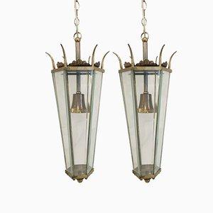 Lanterne in ottone e vetro, anni '50, set di 2
