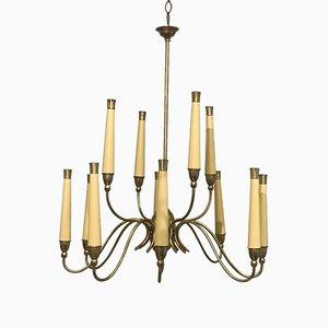 Italian Brass & Wood Chandelier, 1950s