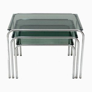 Glass and Chrome Nesting Tables, 1960s